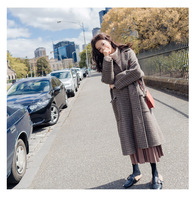 2018 осень зима Для женщин Шерстяное пальто новая мода длинные шерстяные пальто Однобортный свободные Тип женский решетки Шерстяное пальто в
