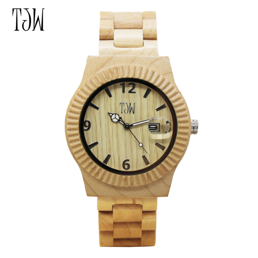 TJW 2018 Reloj de madera para hombre Reloj de madera de bambú hecho - Relojes para hombres - foto 1
