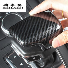 Auto Styling Versnellingspook Handvat Knop Cap Sleeve Cover Stickers Voor Audi A4 B9 A5 Q5 Q7 Carbon Fiber shifter trim Auto Accessoires(China)