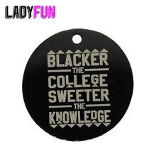 Encanto do Aço Inoxidável Ladyfun Negro a Faculdade/Mais Doce o Conhecimento/HBCU Afrocentric Encantos Pingente 25mm 20 pçs/lote