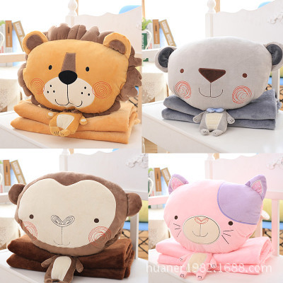 Multifunctional cute cartoon lion monkey dog cat plush toys doll with blanket 4 styles navy monkey with smile