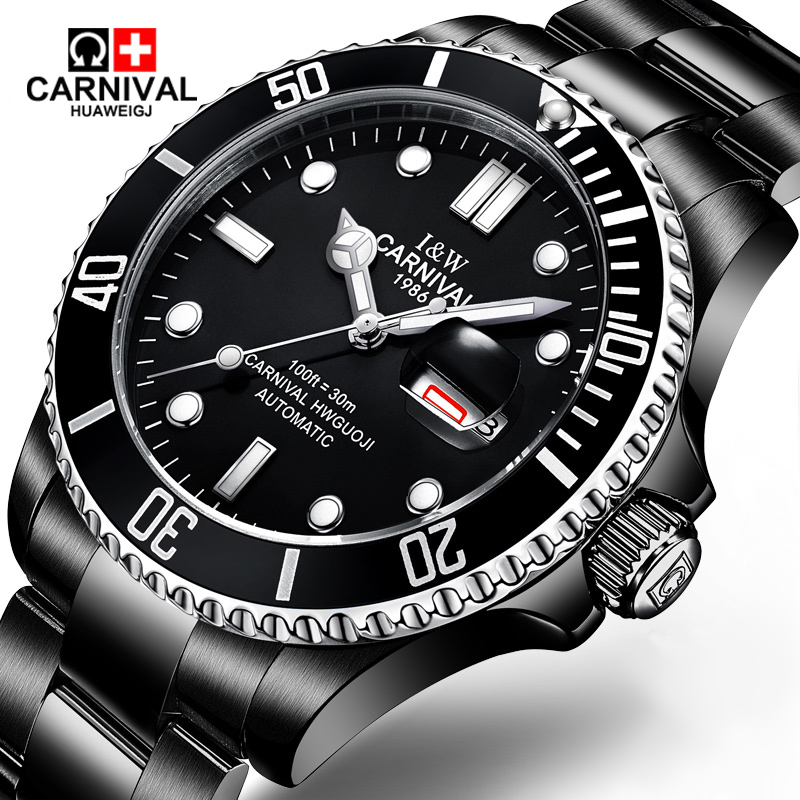 Carnival watches automatic mechanical watch stainless steel luminous calendar waterproof sports black men watch carnival watches automatic mechanical watch gold plated and stainless steel two tone male watch sports dive watches four colors