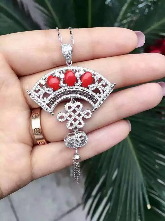 Natural red coral stone brooch S925 silver Natural gemstone brooch Pendant trendy Chinese knot tassel women two wears jewelry natural red coral with silk knot design necklace