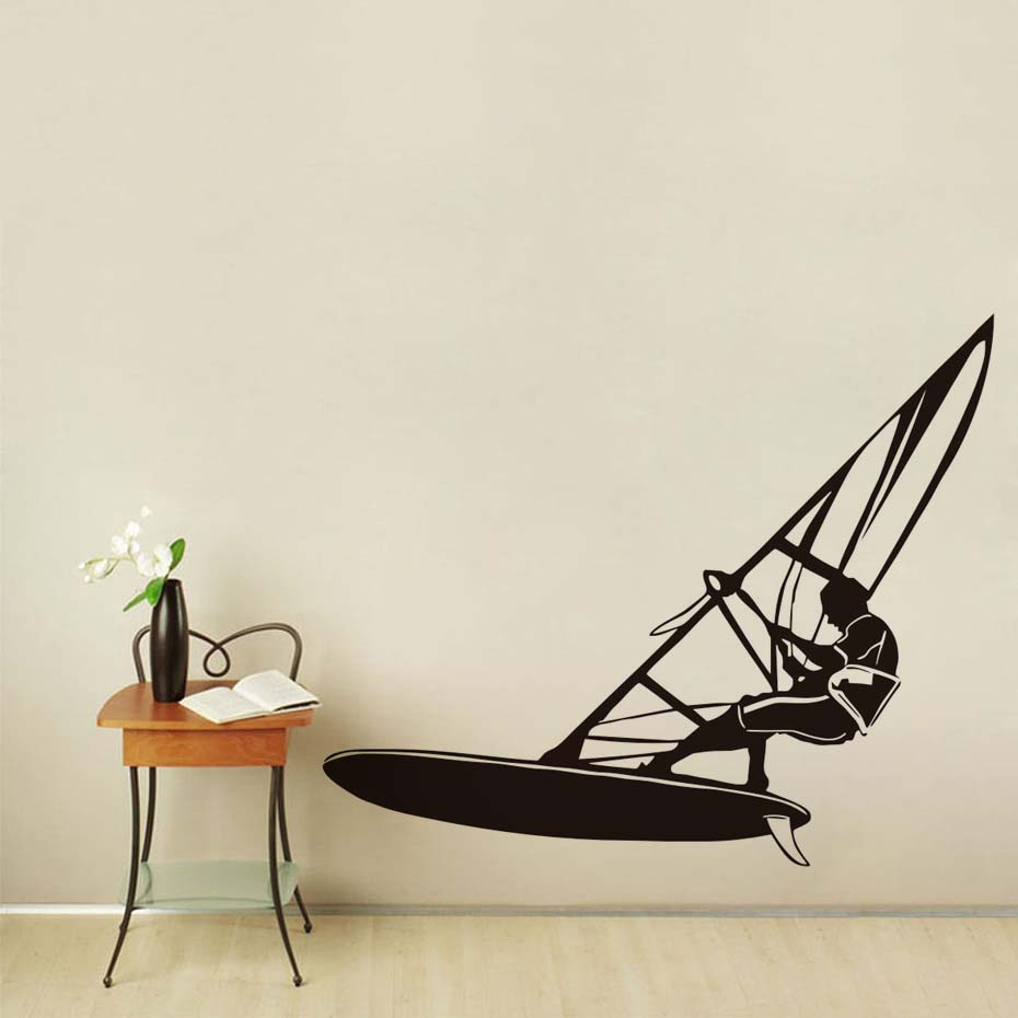 DCTOP Windsurfing Wall Stickers Home Decor Extreme Water Sports Removable Vinyl Wall Decal Sticker for Living Room Gym Bedroom