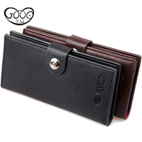 Fashion Leather Men S Wallet Brand Long Zipper Coin Purse Wallet Clutch Style Vintage Buckle Two