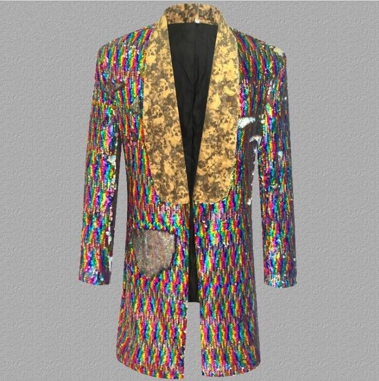 Новые цвета блесток Мода лацкане платье корейский сценическая одежда куртка мужской костюм с пайетками певица личности модный костюм S 5XL