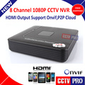 H.264 CCTV Mini 8Ch NVR Onvif Rede Gravador de Vídeo Digital 1080 P 8 Canais de Saída HDMI P2P Nuvem ONVIF Apoio MAX 4 TB HDD