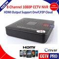 Onvif 8Ch H.264 CCTV Mini NVR Red Grabador de Vídeo Digital de 1080 P 8 Canales P2P Nube Onvif Salida HDMI MAX 4 TB HDD