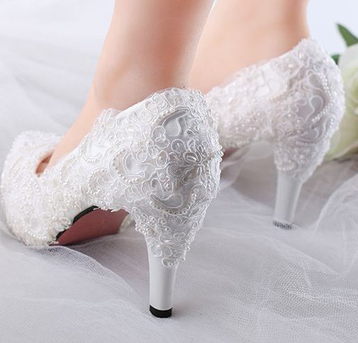 11cm heel 8.5cm heel 2017 new womens wedding shoes white PR1047 full lace pearls ladies bridal pumps shoes on sales bride pump