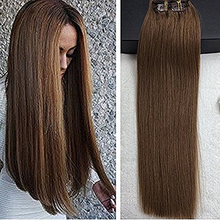 Full Shine Thick Clip in/on Extension colour #8 Mediun Brown 9Pcs/ Set Remy Clip in Hair Extensions Brazilian Human Hair In Sale