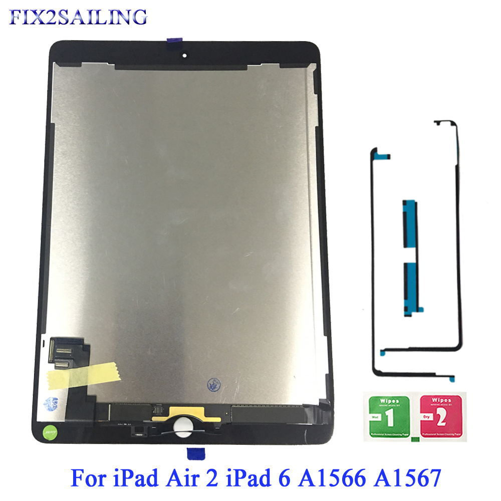 9.7 AAA+ Grade For Apple iPad 6 Air 2 LCD Display Touch Screen Digitizer Assembly Replacement For iPad 6 A1567 A1566 LCD Panel
