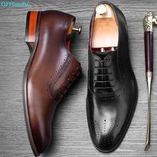 QYFCIOUFU 2019 Hot Handmade Designer Fashion Formal Shoes Men Party Wedding Brand Mens Dress Genuine Leather Oxford