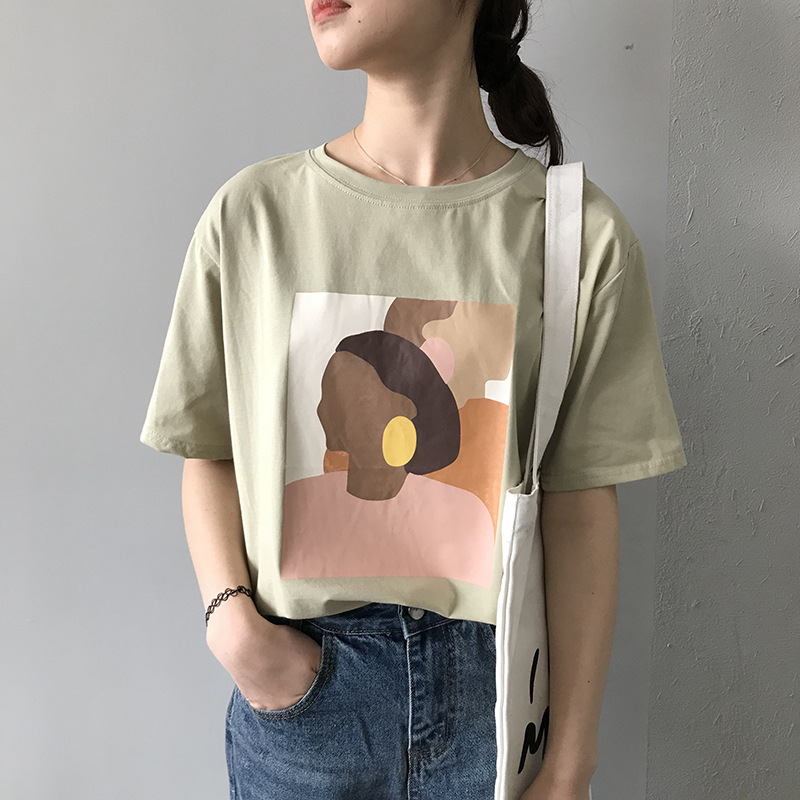 Fanco Vintage Abstract Painting Summer Women T Shirt Short Sleeved Korean Style Thin Round Neck Tee Shirt Tops