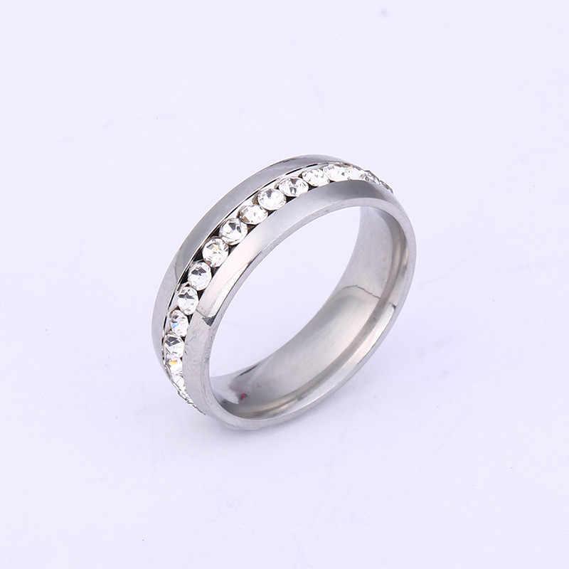Anillos de acero inoxidable para hombre y mujer, anillo de oro rosa, anillos Chapado en plata, anillo de compromiso para mujer, anillo de oro para pareja