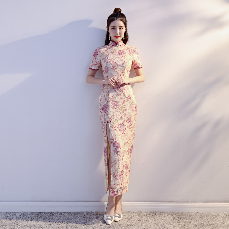 New Hollow Out Lace Girl Evening Dress Chinese Classic  Long Cheongsam Oriental Ladies Elegant Sexy Qipao Vestidos S-XXL