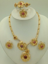 2015 fashion wedding 18 k gold plated beads jewelry set dubai gorgeous flower design Dubai's wedding jewelry set 2015 new fashion dubai gold plated jewelry set africa nigeria s wedding beads jewelry plating 18 k retro design