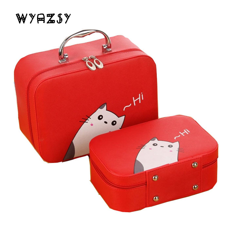 Luxury Jewelry Box 4 Color High Quality Leather Makeup Carrying Case Gifts Organizer Holder Storage Jewelry Packaging Box Casket