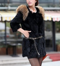 Free Shipping Genuine Nature Rabbit Fur Coat with raccoon fur shoulder Women fashion Jacket Winter Fur