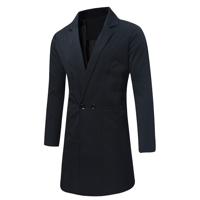 Autumn and Winter Pure Color Men's Long Jackets Large Size S M L XL 4XL 5XL Blue Black Green Fashion Business Mans   Trench   2018