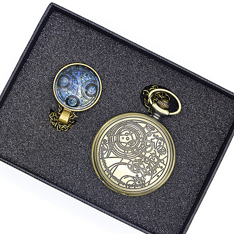 Retro Bronze Steampunk Doctor Who Series Pocket Watch Sets Men Women Watch Necklace Pendant Gift S old retro bronze pocket watch doctor who design quartz fob watch with chain necklace