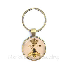 Vintage Royal Crown bee Art Keychain Queen Bee Jewelry Keyring For Best Friends chaos шапка bee 090 royal