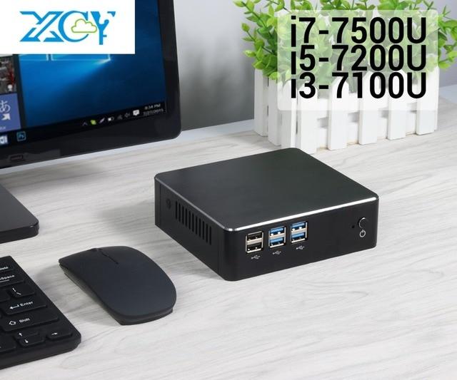 XCY 7th Gen Intel Core i3 7100U i5 7200U i7 7500U Mini PC 4K HDMI NUC USB3.0 WiFi DDR3 RAM Windows 10 Micro Desktop Computer