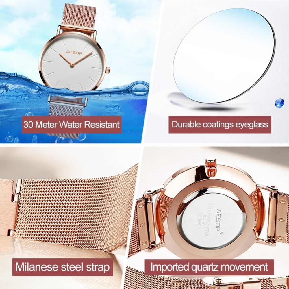 AESOP Lüks Marka quartz saat Kadın Moda stil Gül Altın Çelik Bilezik İzle Bayanlar Elbise İzle 36mm dial relogio feminino
