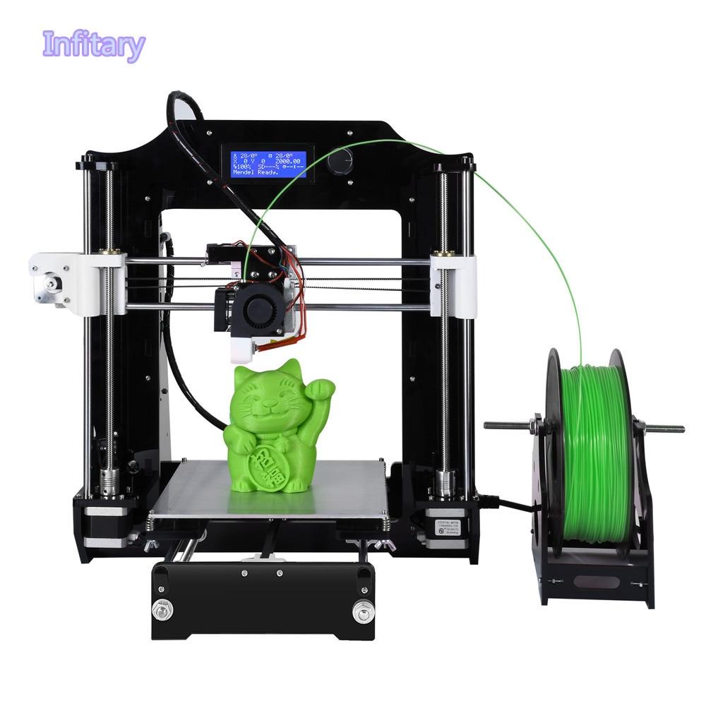 Новые FDM печатная Технология акрил + металл 3D-принтеры Высокая точность широкоформатной печати Размеры i3 высокое качество 3D принтер Наборы