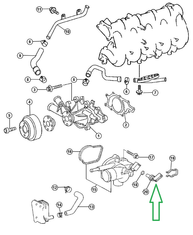 Sensor Coolant Temperature For Dodge Sprinter 2500 3500 Caliber