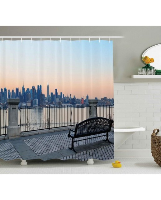 Scenery Shower Curtain Bench In New York City Print For BathroomWaterproof And Fabric Washable Set With