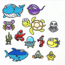 DOUBLEHEE Big Small The Sea Animals Patches Embroidered Iron On Patch For Clothing Sticker Paste Clothes Bag Pants