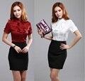 Nuevo 2015 Primavera Verano Moda Mujeres Ropa de Trabajo Blusas Y Faldas Para Mujeres de Negocios Oficina Señoras Formales Uniformes Set S-3XL