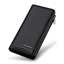Portfele mężczyźni luksusowe marki prawdziwej skóry męskie portfele skórzane długie męskie portfel portfel męski sprzęgła biznes portfel portmonetka portfel na zamek błyskawiczny tanie tanio WILLIAMPOLO Skóra bydlęca 19 5cm WilliamPOLO-219 3 3cm Genuine Leather zipper Kieszonka na monety Wnętrza przedziału