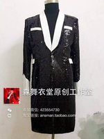 S 5XL! Men's fashion slim 2018 singer concert black white red sequins bright long Blazer suit costumes Men clothing