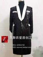 S 5XL! Men's fashion slim 2018 singer concert black white red sequins bright long Blazer suit costumes Men clothing