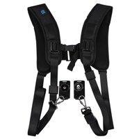 Black Double Dual Camera Quick Rapid Sling Camera Belt Adjustment Shoulder Strap for Canon for 2 Cameras Digital DSLR Strap