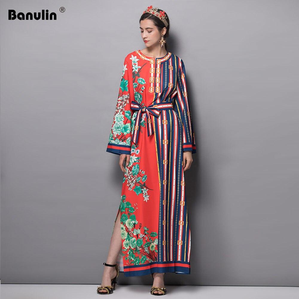 9a8cc8306c Banulin Runway Maxi Dress 2018 Autumn Women s Long Sleeve High Split Belt  Boho Holiday Casual Floral Print Vintage Long Dress-in Dresses from Women s  ...