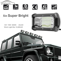 5 72W 6500K 6000LM 24LED 12V Car Working Light Bar Super Bright White Led Flood Lamp