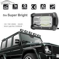 5 72W 6500K 6000LM 24LED 12V Car Working Light Bar Super Bright White Led Flood Lamp