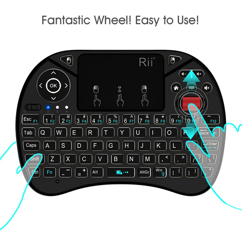 Rii i8 x8 2.4GHz Wireless gaming Keyboard With Backlit Mouse Roller Air mouse Touchpad for Android TV BOX English Russian