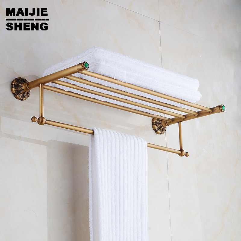 Bath Towel Shelves Towel Bar bath shelf Luxury Towel shelf antique brass Bathroom towel rack holder High Quality bronze brown high quality 60 cm gold antique bronze fixed bath towel holder wall mounted towel rack brass towel shelf bathroom accessories