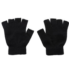 1 Pair Warm Winter Outdoor Black Knitted Gloves Men Solid Stretch Elastic Warm Sports Cycling Half Finger Fingerless Gloves oumily outdoor tactic half finger gloves khaki size l pair