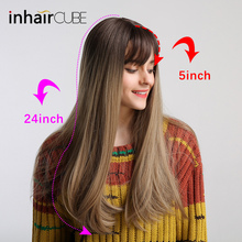 Inhair cube 22Women Synthetic Wig Ombre Brown Long Straight Dark Brown Root High Temperature Hair Wig Natural Headline цена