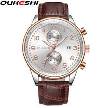 OUKESHI Brand Luxury Men Wristwatch Leather Fashion Date Calendar Quartz Watch Waterproof Male Business Watch Relogio Masculino