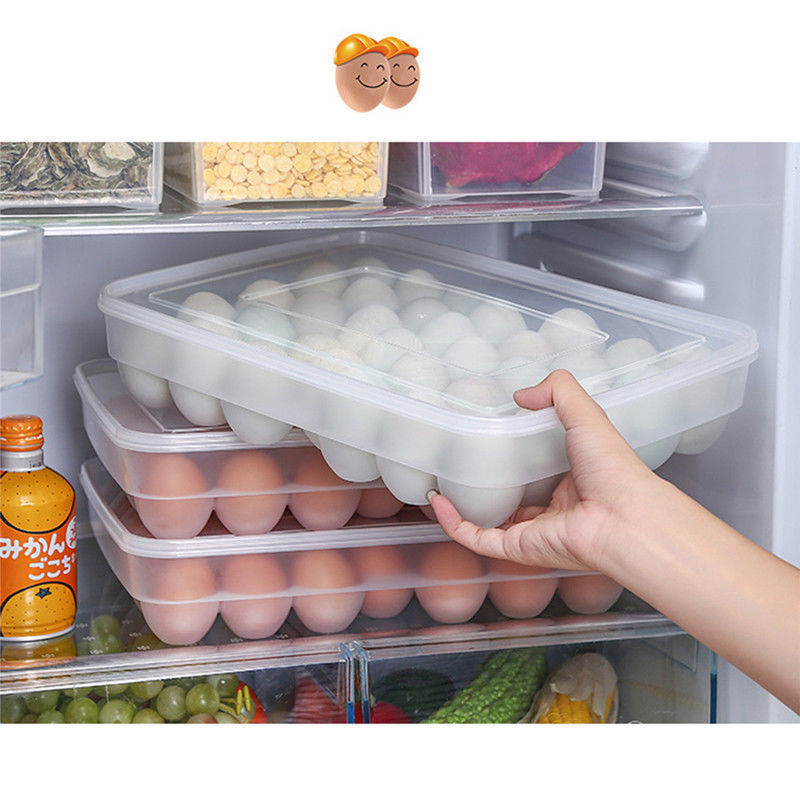 Clear 34 Grid Single Layer Egg Box Basket Organizer Plastic Egg Food Container Storage Box Home Kitchen Transparent Case Egg Box-in Storage Boxes & Bins from Home & Garden