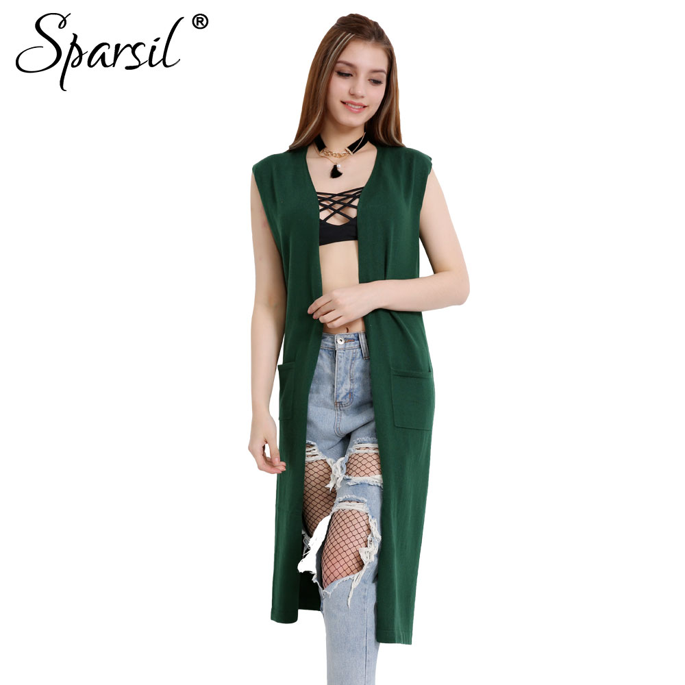 Sparsil Women's Spring&Autumn Sleeveless Long Cardigan With Pocket ...