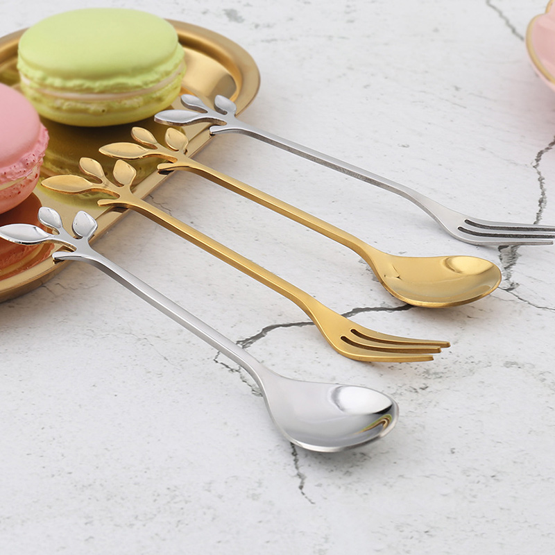 Newly 1 Pcs Stainless Steel Leaves Spoon Fork Coffee Tea Spoons Ice Cream Dessert Cake XSD88