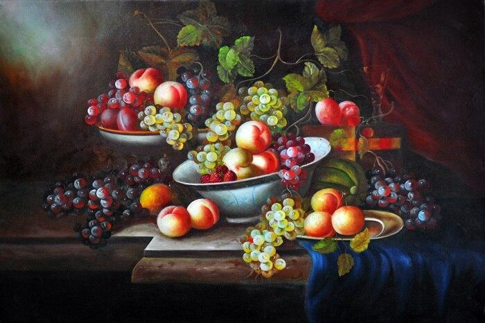 Gratis Verzending Klassieke Stilleven Druiven Fruitschaal Canvas