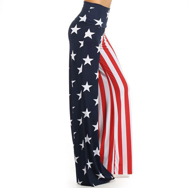 USA Flag Printed Loose Striped Trousers Women Full Length Trainning Exercise Wide Leg Pants Ladies Quick Dry Sport Trousers
