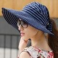 Ondulado Rayas Sombrero Femenino Del Verano Del Paño Paño Casquillo de la Playa Sol Sombrero Plegable Del Sombrero Del Sol Hembra Sombrero de Verano
